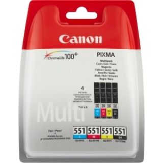 Product image of [Ex-Demo] Canon CLI-551 (Multi Pack C/M/Y/B) Ink Cartridge (Package opened. Carts sealed as new.)