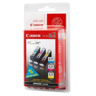 Product image of Canon CLI-521 (Colour C/M/Y) Ink Cartridges Pack (3 x 9ml) with Security