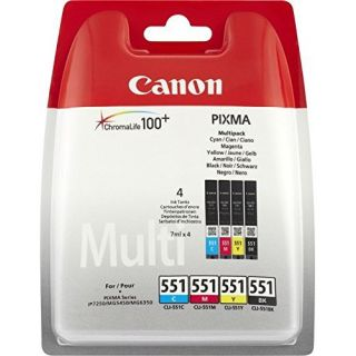 Product image of Canon Value Pack 4X6 (Photo Paper) CLI-551 C/M/Y/BK (Pack of 4 Ink Cartridge)