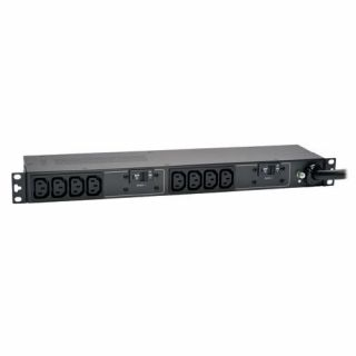 Product image of Tripp Lite 1U 7.4kW 200/240V (10 C13 Outlets) Single-Phase Horizontal Rack-Mount Basic Power Distribution Unit Strip (Black) with IEC-309 32A Blue Plug Input Type