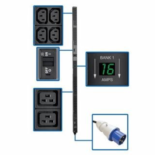Product image of Tripp Lite 0U 7.4kW 230V (8 C19 & 40 C13 Outlets) Single-Phase Vertical Rack-Mount Metered Power Distribution Unit Strip (Black) with IEC-309 32A Blue Plug Input Type