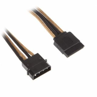 Product image of BitFenix BFA-MSC-MSA45AKK-CK BitFenix Molex to SATA Adapter 45 cm - sleeved gold/black