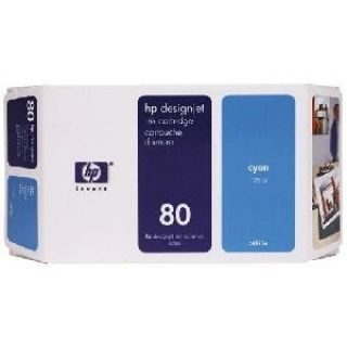Product image of HP 80 Ink System Cyan 350ml for DesignJet 1050 Series