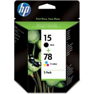 Product image of Bundle: Combo Back HP 15 (25ml)  Black Ink Cartridge + HP 78 (19ml) TriColour Ink Cartridge
