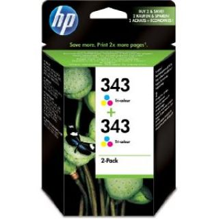 Product image of HP 343 Tri-colour Inkjet Print Cartridge (2 Pack) with Vivera Inks