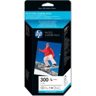 Product image of HP 300 Photo Starter Pack (Yield 165 Pages) Cyan, Magenta, Yellow Ink Cartridge + 10cm x 15cm 250g/m2 Gloss Photo Paper (50 Sheets)