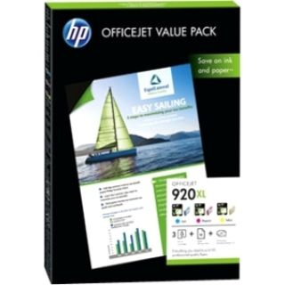 Product image of HP Value Pack: HP 920XL Officejet Ink Cartridge (1 x Cyan/1 x Magenta/1 x Yellow) + Paper A4 50 Sheets 180gsm
