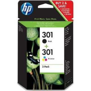 Product image of HP 301 Combo Pack (Black/Tri-colour) Ink Cartridges (Yield 190 Pages Black/165 Pages Colour)