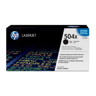 Product image of HP 504X Black Smart Print Cartridge (Yield 10500 Pages) with ColorSphere Toner for HP Colour LaserJet CP3525