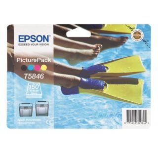 Product image of Epson Picture Pack containing T5846 Tri-Colour Photo Cartridge + Photo Paper (150 Sheets) for PictureMate 240/280