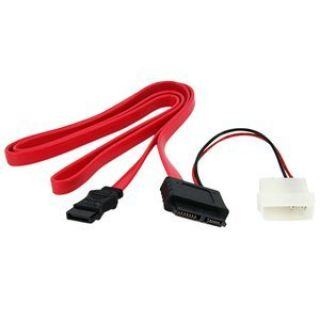 Product image of StarTech Slimline SATA Female to SATA with LP4 Power Cable Adaptor (0.9m)