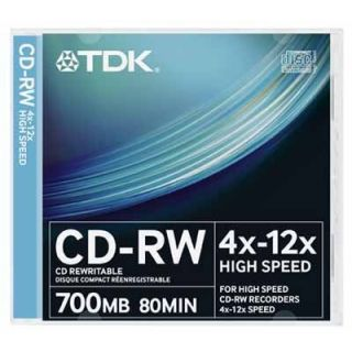 Product image of TDK CD-RW700HSSL10 TDK CDRW High Speed 12x 10 Pack Slim JC