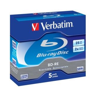 Product image of Verbatim Blu-ray BD-RE Rewritable Disk Cased Speed 1-2X 25GB (5 Pack)