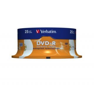 Product image of Verbatim DVD-R Gold Archival 4.7GB 8x Spindle (25 Pack)