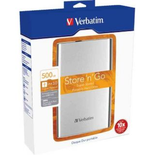 Product image of Verbatim Store n Go 500GB Portable Hard Drive USB 3.0 External (Silver)