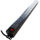 Image of Dynamode LMS Data 1U 12 Way High Density Vertical 13A Switched PDU/Power Bar with Surge Protection (Rackmount)