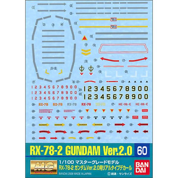 Gundam Decal GD-60 for MG Gundam Ver. 2.0 Real Type Image