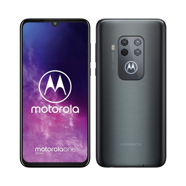 Motorola One Zoom 6.4 Inch FHD  Display, Quad Camera System, 128 GB/4 GB, Android 9, Dual SIM UK Smartphone, Electric Grey Image