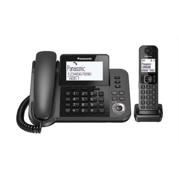 [Ex-Demo] Panasonic KX-TGF320E Digital Cordless Answering System 1 Corded Handset and 1 Cordless Handset (Some marks on unit | Missing Rechargeable AAA Batteries) Image
