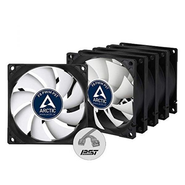 Arctic F8 8cm PWM PST Case Fans x5 Black & White Fluid Dynamic Value Pack (5 Fans) 6 Year Warranty Image