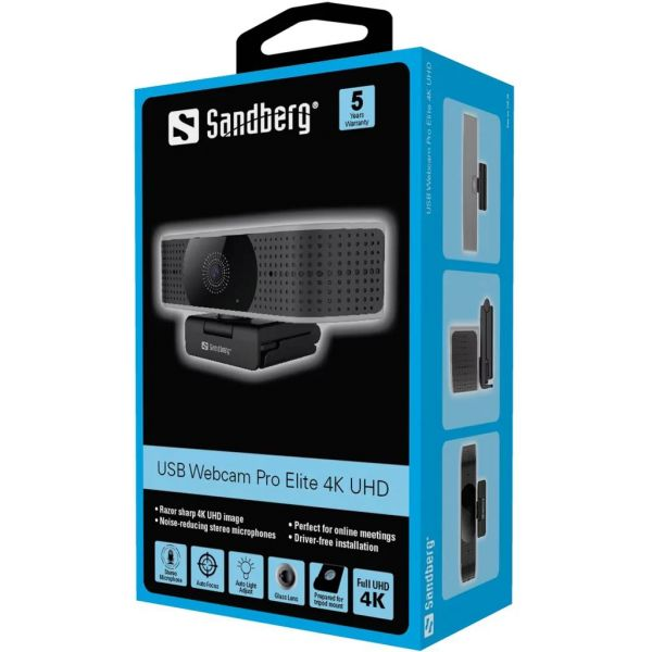 Sandberg Pro Elite 4K UHD Webcam with Noise-Reducing Stereo Mic USB-A/USB-C 8.3MP 3840 x 2160 60fps Glass Lens 78° Viewing Angle 5 Year Warranty Image