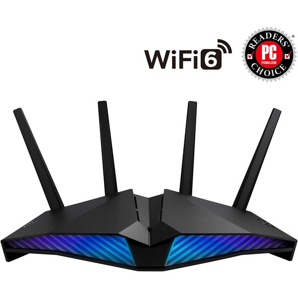Asus (RT-AX82U) AX5400 (574 4804Mbps) Wireless Dual Band RGB Router, Mobile Game Mode, 802.11ax, AiMesh Image