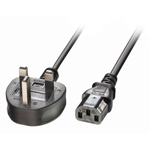 Lindy (3m) UK Plug to IEC C13 Power Cable (Black) Image