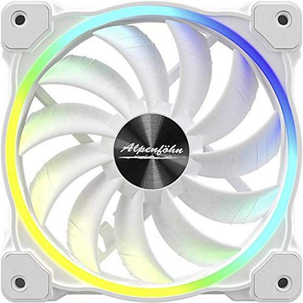 Alpenfohn Wing Boost 3 White 120mm Addressable RGB High Speed PWM Fan Image