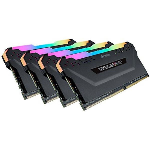 Corsair Vengeance RGB Pro 64GB Kit (4 x 16GB) DDR4 3200MHz (PC4-25600) CL16 XMP 2.0 Black RGB Image
