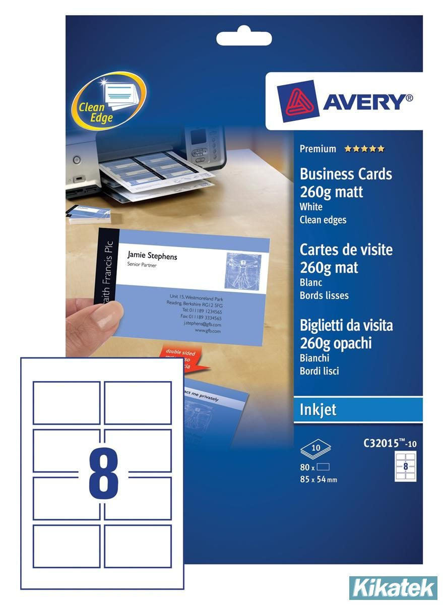 Avery Quick Clean Double Sided Matt Inkjet Business Cards