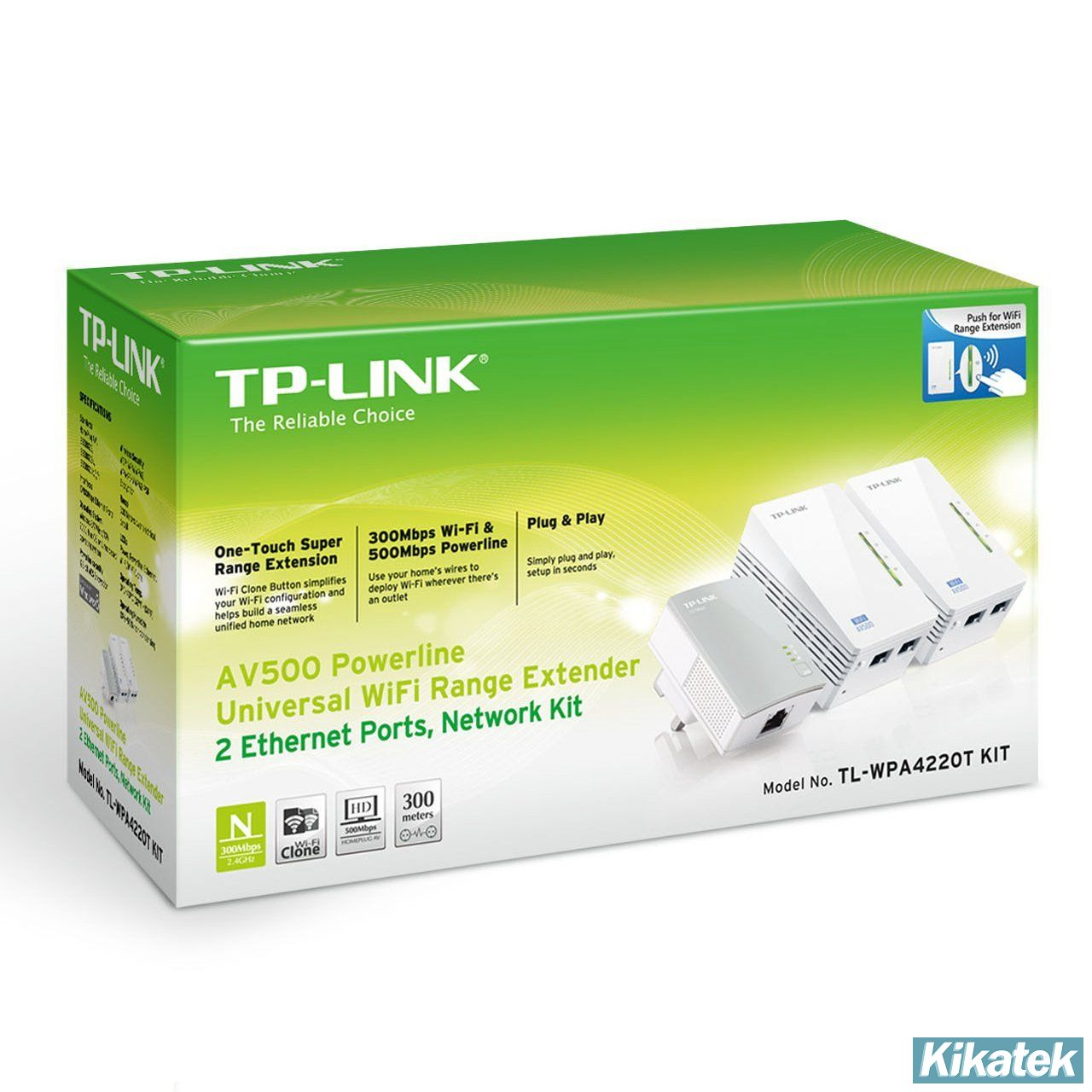 tp link av500 300mbps powerline universal wifi range extender with 2 ethernet po. Black Bedroom Furniture Sets. Home Design Ideas