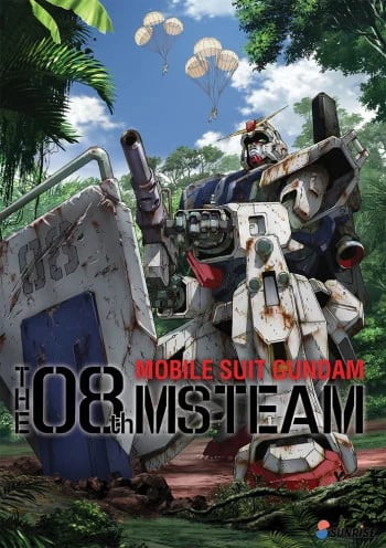 Poster of Mobile Suit Gundam The 8th MS Team showing a battle-worn Gundam
