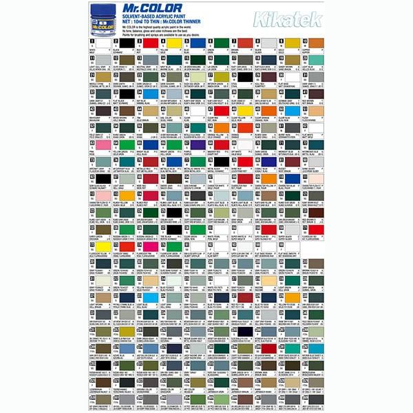 Mr Color Gundam Color Chart Image